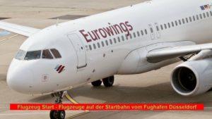 Flugzeug Start – Flugzeuge auf der Startbahn vom Fughafen Düsseldorf