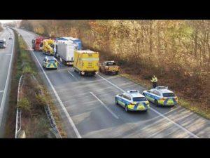 Unfall mit LKW auf der Autobahn A1 am 23.11.2020